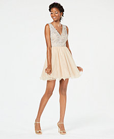 City Studios Juniors' Rhinestone & Tulle Fit & Flare Dress