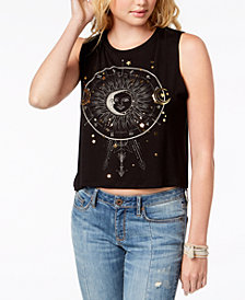 Rebellious One Juniors' Metallic Moon-Print Muscle Tank Top