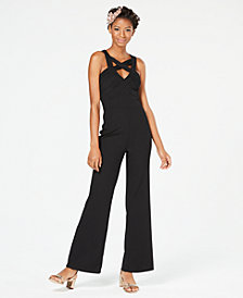 Crystal Doll Crisscross Cutout Jumpsuit