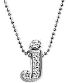 "Alex Woo Diamond Initial ""j"" 16"" Pendant Necklace (1/10 ct. t.w.) in 14k White Gold"