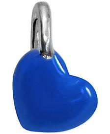 Blue Enamel Heart Mini-Charm in Sterling Silver