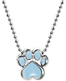 "Alex Woo Blue Enamel Activist Paw Print 16"" Pendant Necklace in Sterling Silver"