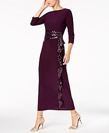Cascading Sequin-Embellished Dress