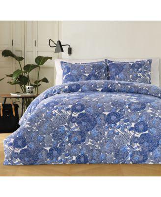 Mynsteri Cotton 200-Thread Count 2-Pc. Blue Twin Duvet Cover Set