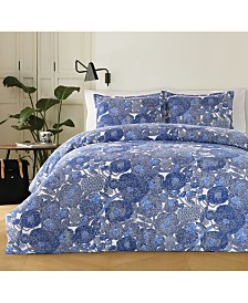 Marimekko Mynsteri 200-Thread Count 3-Pc. Blue Full/Queen Comforter Set