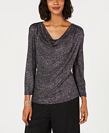MSK Metallic Cowl-Neck Top