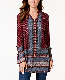 Style & Co Printed Split-Neck Tunic Top, Created for Macy's