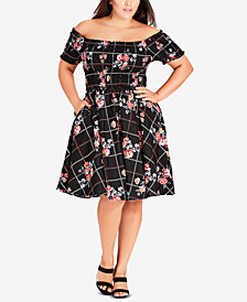 City Chic Trendy Plus Size Picnic Bouquet Cotton Printed Off-The-Shoulder Dress