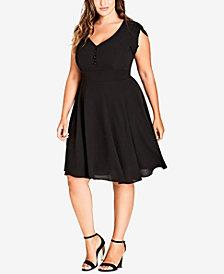 City Chic Trendy Plus Size Cap-Sleeve A-Line Dress