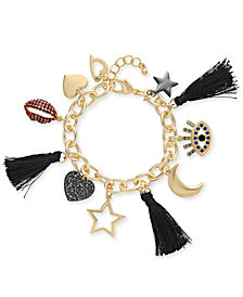 Thalia Sodi Two-Tone Crystal & Tassel Multi-Charm Bracelet, Created for Macy's