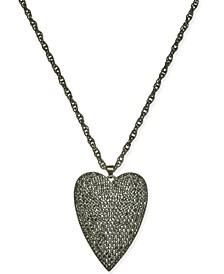 "Hematite-Tone Pavé Heart 18"" Pendant Necklace, Created for Macy's"