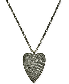 "Thalia Sodi Hematite-Tone Pavé Heart 18"" Pendant Necklace, Created for Macy's"