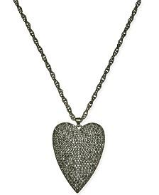 "Thalia Sodi Hematite-Tone Pavé Heart 18"" Pendant Necklace, Created for Macy's"