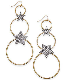Thalia Sodi Two-Tone Pavé Star & Circle Linear Drop Earrings, Created for Macy's
