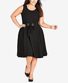 City Chic Trendy Plus Size Wimbeldon Belted Dress