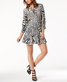 Just Cavalli Flounce-Hem Printed Dress