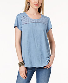 Style & Co Petite Crochet-Trim Flutter-Sleeve Top, Created for Macy's