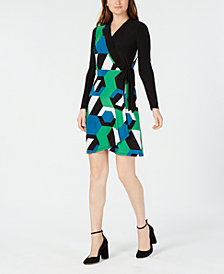 I.N.C. Petite Geometric Colorblocked Wrap Dress, Created for Macy's