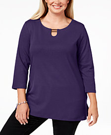 Karen Scott Plus Size Cotton Hardware-Detailed Tunic Top, Created for Macy's