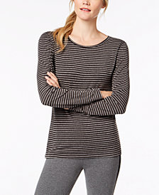 Ideology Striped Cutout-Back Long-Sleeve T-Shirt, Created for Macy's