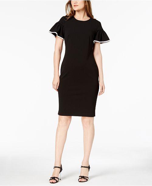 3f2bf52d38695 Calvin Klein Petite Flutter-Sleeve Sheath Dress   Reviews - Dresses ...
