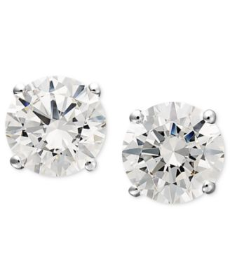 14k White Gold Earrings Swarovski Zirconia Round Stud 1 3 4 Ct T W