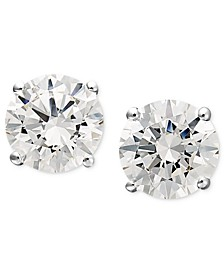 14k White Gold Earrings, Swarovski Zirconia Round Stud Earrings (1-3/4 ct. t.w.)