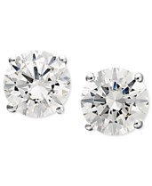 0e1abe576 Arabella 14k White Gold Earrings, Swarovski Zirconia Round Stud Earrings  (1-3/