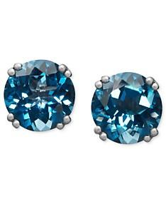 cd7524b35 14k White Gold Earrings, London Blue Topaz Stud Earrings (4-1/2