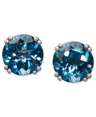 Macy S 14k White Gold Earrings London Blue Topaz Stud Earrings 4 1