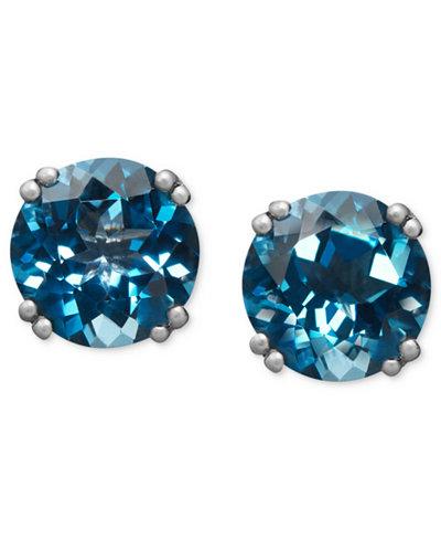 14k White Gold Earrings, London Blue Topaz Stud Earrings (4-1/2 ct. t.w.)