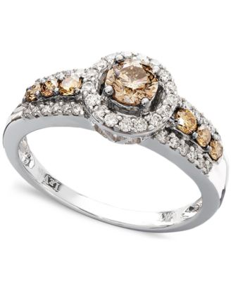 Le Vian Chocolate And White Diamond Ring In 14k White Gold (3/4 Ct Amazing Design
