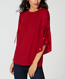 MICHAEL Michael Kors Petite Laced-Sleeve Top