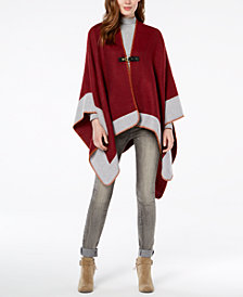 Vince Camuto Whipstitched Chevron Poncho