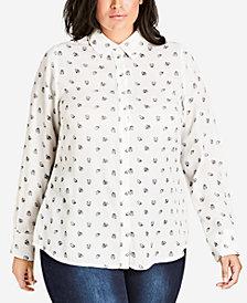 City Chic Trendy Plus Size Ladybug-Print Shirt