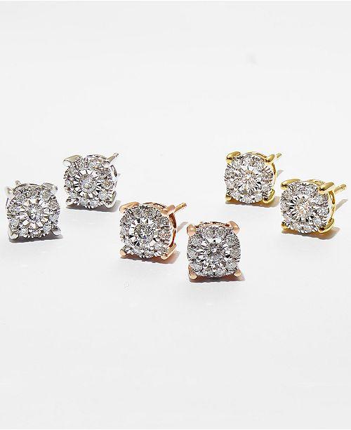 Diamond Stud Earrings 1 3 Ct T W In 14k Gold Rose Or White