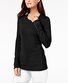 JM Collection Petite Embellished-Cuff Sweater, Created for Macy's