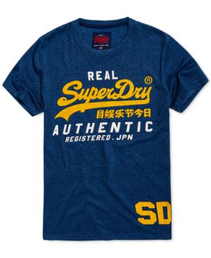 SUPERDRY Men'S Vintage-Inspired Authentic Duo T-Shirt in Blue Black Grit