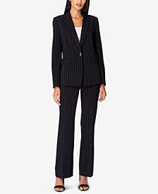 Tahari ASL Pinstriped Single-Button Pantsuit