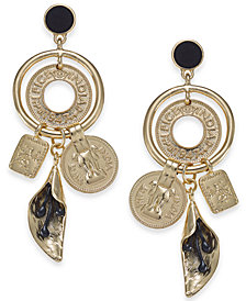 I.N.C. Gold-Tone Velvet-Covered Stone Multi-Charm Statement Earrings, Created for Macy's