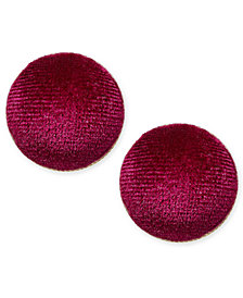 I.N.C. Gold-Tone Velvet Button Stud Earrings, Created for Macy's