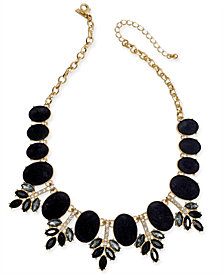"I.N.C. Gold-Tone Faux Velvet, Multi-Stone & Crystal Statement Necklace, 17-1/5"" + 3"" extender, Created for Macy's"