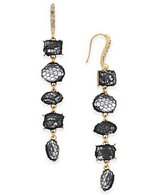 I.N.C. Gold-Tone Stone & Lace Linear Drop Earrings, Created for Macy's