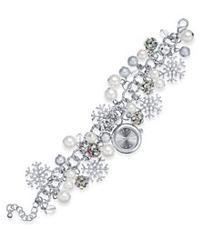 Charter Club Silver-Tone Crystal & Imitation Pearl Snowflake Watch Charm Bracelet, Created for Macy's