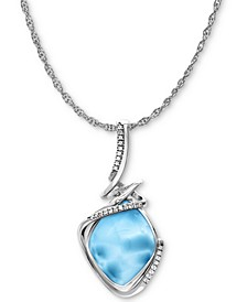 "Larimar & White Sapphire (1/8 ct. t.w.) 21"" Pendant Necklace in Sterling Silver"