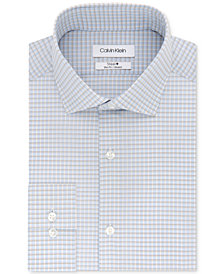 Calvin Klein Men's STEEL Slim-Fit Non-Iron Performance Stretch Blue & Tan Check Dress Shirt