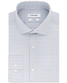 Calvin Klein Men's STEEL Slim-Fit Non-Iron Performance Stretch Blue & Tan Check Dress Shirt