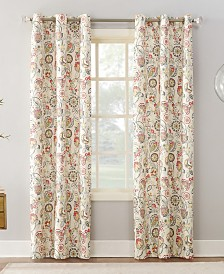 "Sun Zero Jorah 40"" x 84"" Thermal Insulated Botanical Print Curtain"