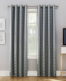 "Sun Zero Rowes 52"" X 95"" Woven Trellis Blackout Lined Grommet Curtain Panel"