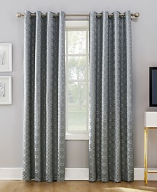 Sun Zero Rowes Woven Trellis Blackout Lined Grommet Curtain Panel Collection